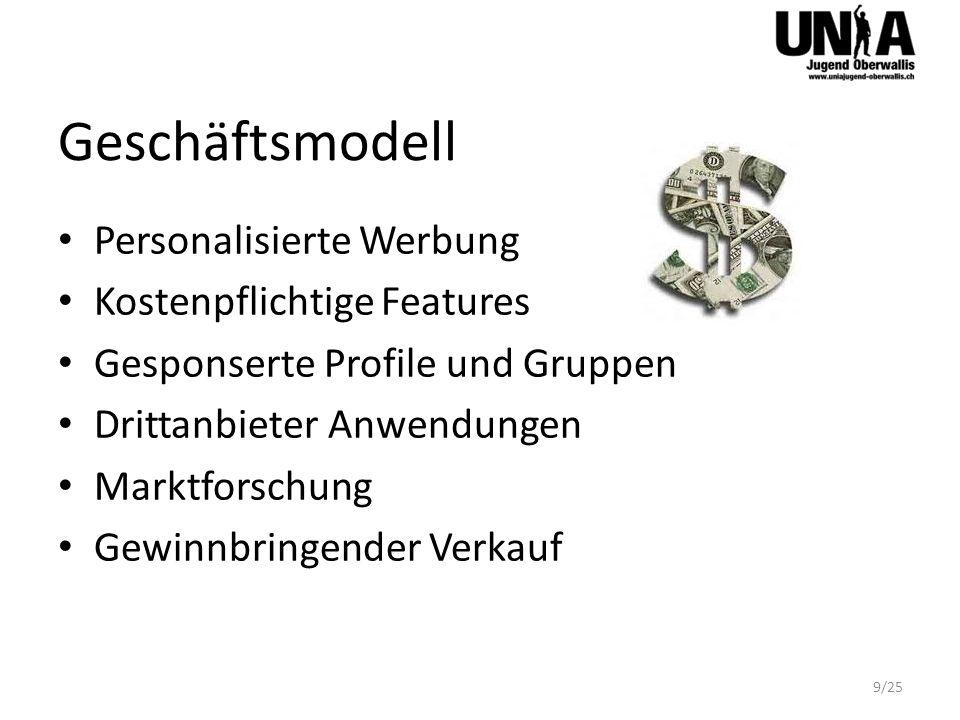 Geschäftsmodell Personalisierte Werbung Kostenpflichtige Features Gesponserte Profile und Gruppen Drittanbieter Anwendungen Marktforschung Gewinnbring