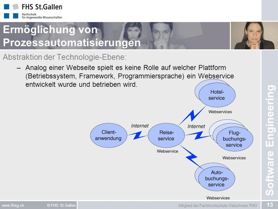 Mitglied der Fachhochschule Ostschweiz FHO 13 www.fhsg.ch © FHS St.Gallen Software Engineering Ermöglichung von Prozessautomatisierungen Abstraktion der Technologie-Ebene: –Analog einer Webseite spielt es keine Rolle auf welcher Plattform (Betriebssystem, Framework, Programmiersprache) ein Webservice entwickelt wurde und betrieben wird.