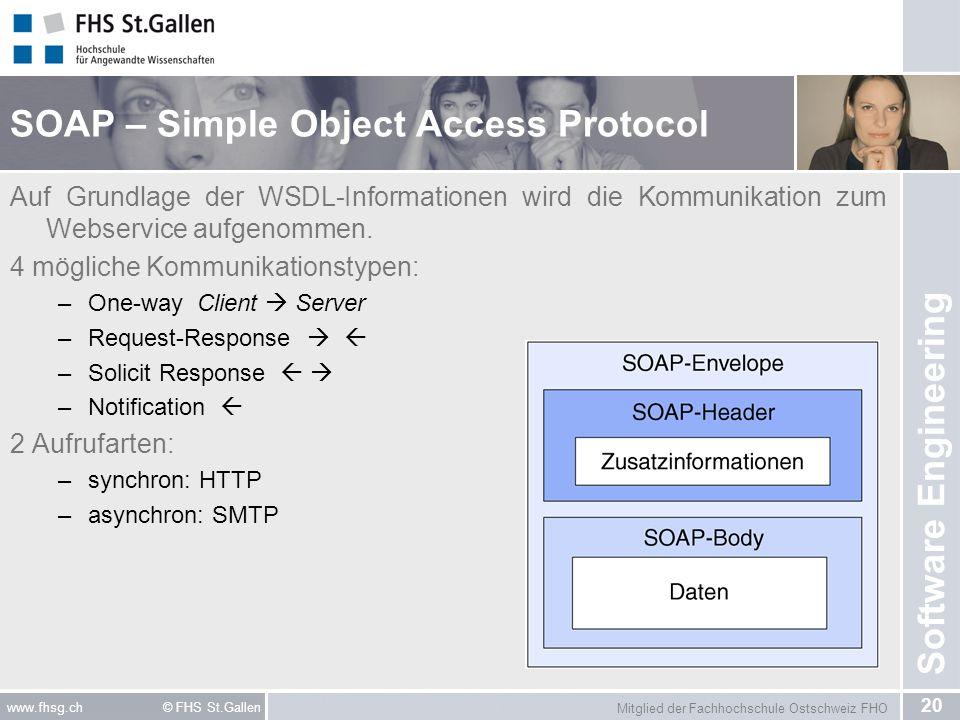 Mitglied der Fachhochschule Ostschweiz FHO 20 www.fhsg.ch © FHS St.Gallen Software Engineering SOAP – Simple Object Access Protocol Auf Grundlage der WSDL-Informationen wird die Kommunikation zum Webservice aufgenommen.