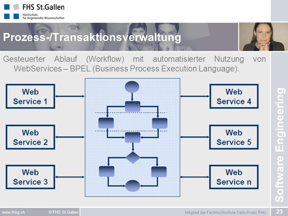 Mitglied der Fachhochschule Ostschweiz FHO 23 www.fhsg.ch © FHS St.Gallen Software Engineering Prozess-/Transaktionsverwaltung Gesteuerter Ablauf (Workflow) mit automatisierter Nutzung von WebServices – BPEL (Business Process Execution Language).