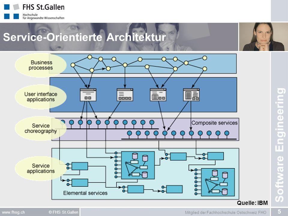 Mitglied der Fachhochschule Ostschweiz FHO 5 www.fhsg.ch © FHS St.Gallen Software Engineering Service-Orientierte Architektur Quelle: IBM