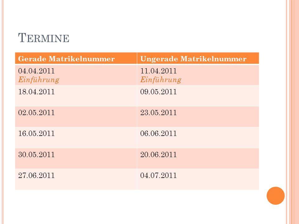T ERMINE Gerade MatrikelnummerUngerade Matrikelnummer 04.04.2011 Einführung 11.04.2011 Einführung 18.04.201109.05.2011 02.05.201123.05.2011 16.05.201106.06.2011 30.05.201120.06.2011 27.06.201104.07.2011