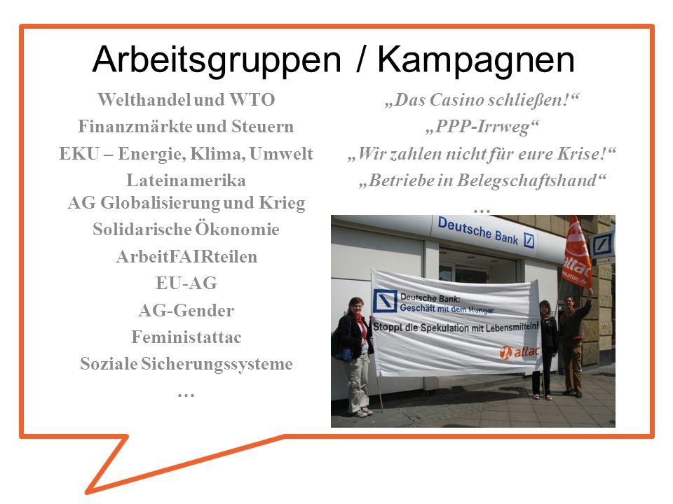Arbeitsgruppen / Kampagnen Welthandel und WTO Finanzmärkte und Steuern EKU – Energie, Klima, Umwelt Lateinamerika AG Globalisierung und Krieg Solidari