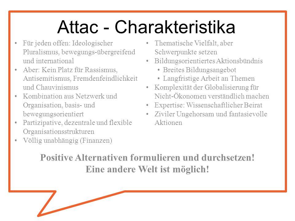 Attac - Charakteristika Für jeden offen: Ideologischer Pluralismus, bewegungs-übergreifend und international Aber: Kein Platz für Rassismus, Antisemit