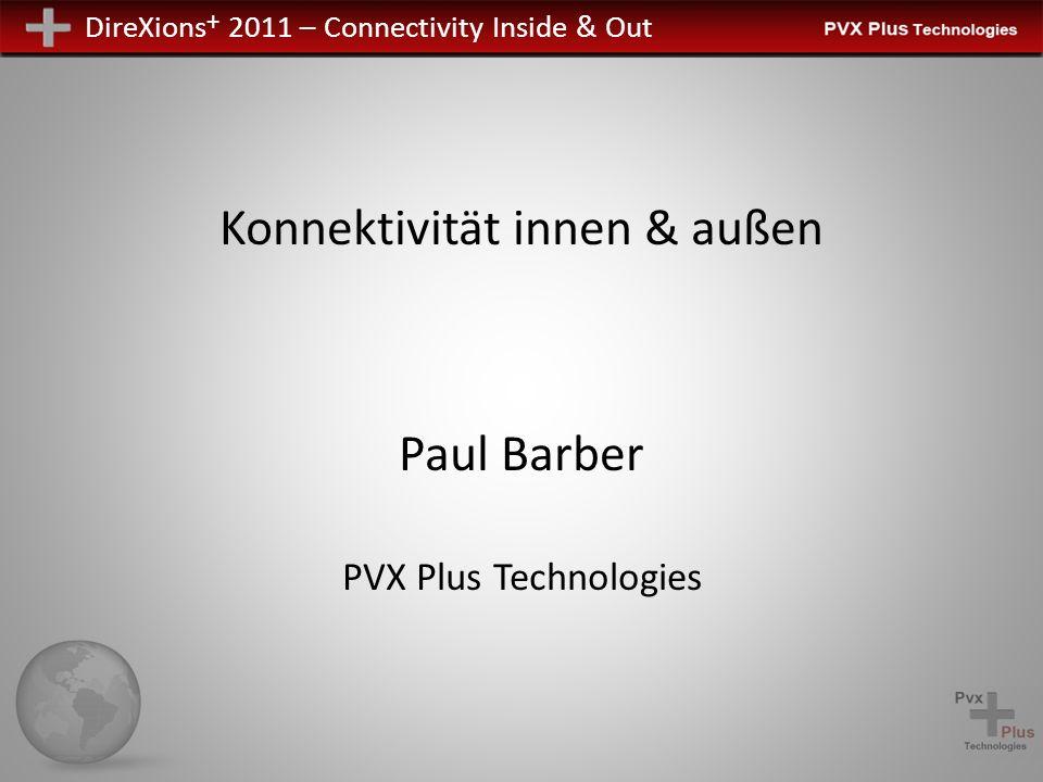DireXions + 2011 – Connectivity Inside & Out Konnektivität innen & außen Paul Barber PVX Plus Technologies