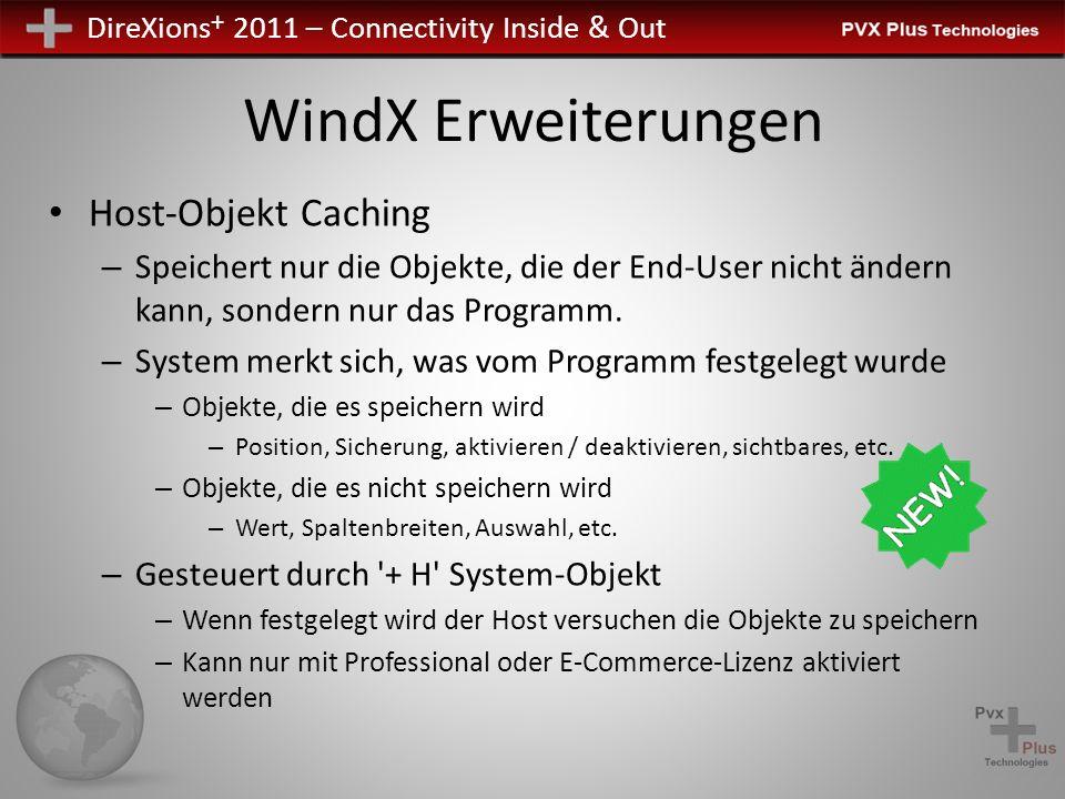DireXions + 2011 – Connectivity Inside & Out WindX Erweiterungen Host-Objekt Caching – Speichert nur die Objekte, die der End-User nicht ändern kann,