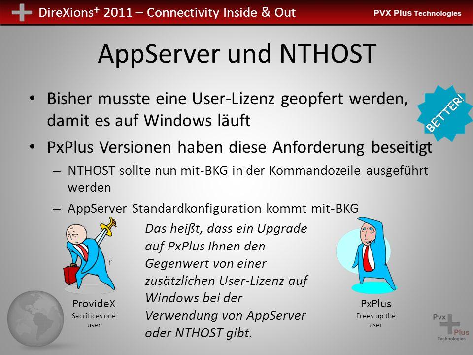 DireXions + 2011 – Connectivity Inside & Out AppServer und NTHOST Bisher musste eine User-Lizenz geopfert werden, damit es auf Windows läuft PxPlus Ve