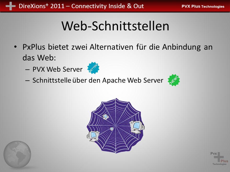 DireXions + 2011 – Connectivity Inside & Out Web-Schnittstellen PxPlus bietet zwei Alternativen für die Anbindung an das Web: – PVX Web Server – Schni