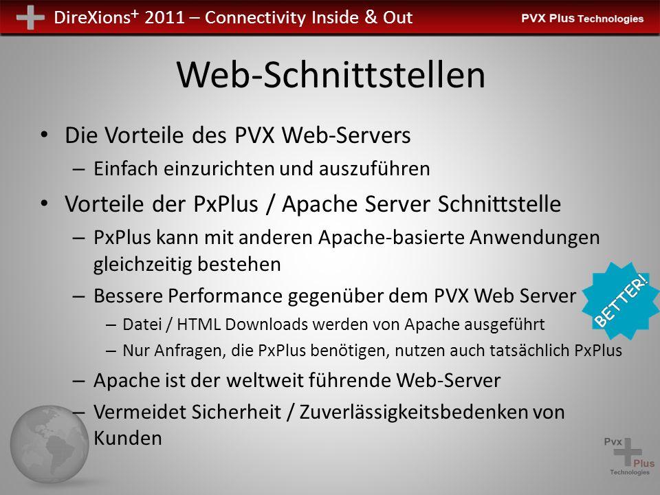 DireXions + 2011 – Connectivity Inside & Out Web-Schnittstellen Die Vorteile des PVX Web-Servers – Einfach einzurichten und auszuführen Vorteile der P