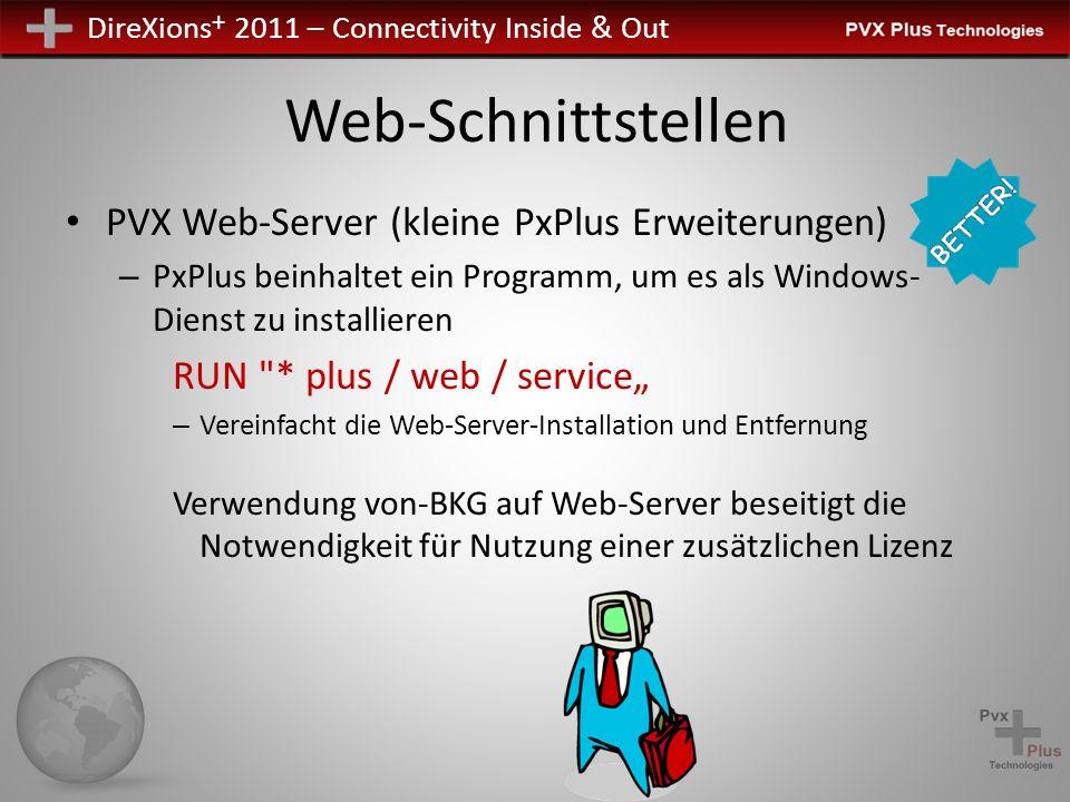 DireXions + 2011 – Connectivity Inside & Out Web-Schnittstellen PVX Web-Server (kleine PxPlus Erweiterungen) – PxPlus beinhaltet ein Programm, um es a