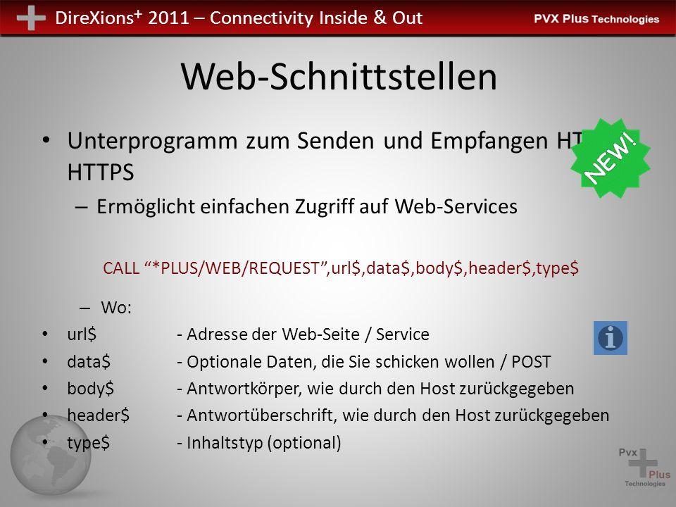 DireXions + 2011 – Connectivity Inside & Out Web-Schnittstellen Unterprogramm zum Senden und Empfangen HTTP / HTTPS – Ermöglicht einfachen Zugriff auf