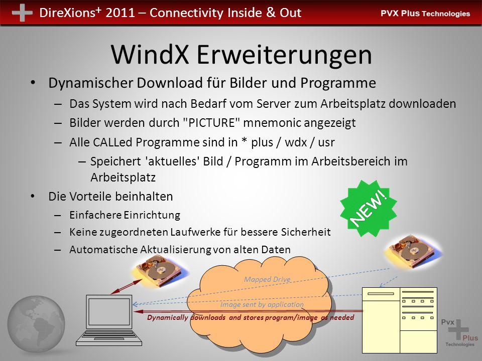 DireXions + 2011 – Connectivity Inside & Out WindX Erweiterungen Bietet folgende globale Variablen vom Arbeitsplatz aus: – % PXPLUS_WHO $ - Arbeitsplatz-User-ID – % PXPLUS_NID $ - Arbeitsplatz NID – Legt ursprünglichen FID (0) basiert auf dem Arbeitsplatz FID fest