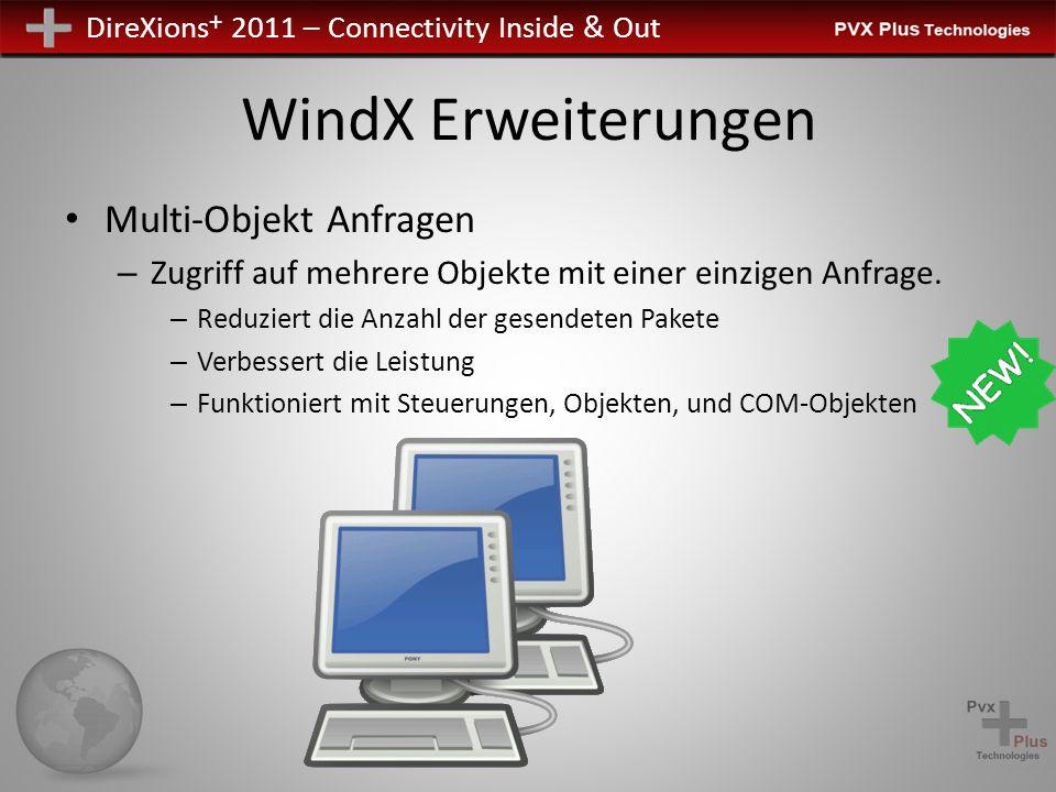 DireXions + 2011 – Connectivity Inside & Out WindX Erweiterungen Multi-Objekt Anfragen – Verwendet Pseudo -Objektnamen, die mit Punkt enden ( . ) -Jeder echte Objektnamen ist durch Punkte getrennt Z.b.