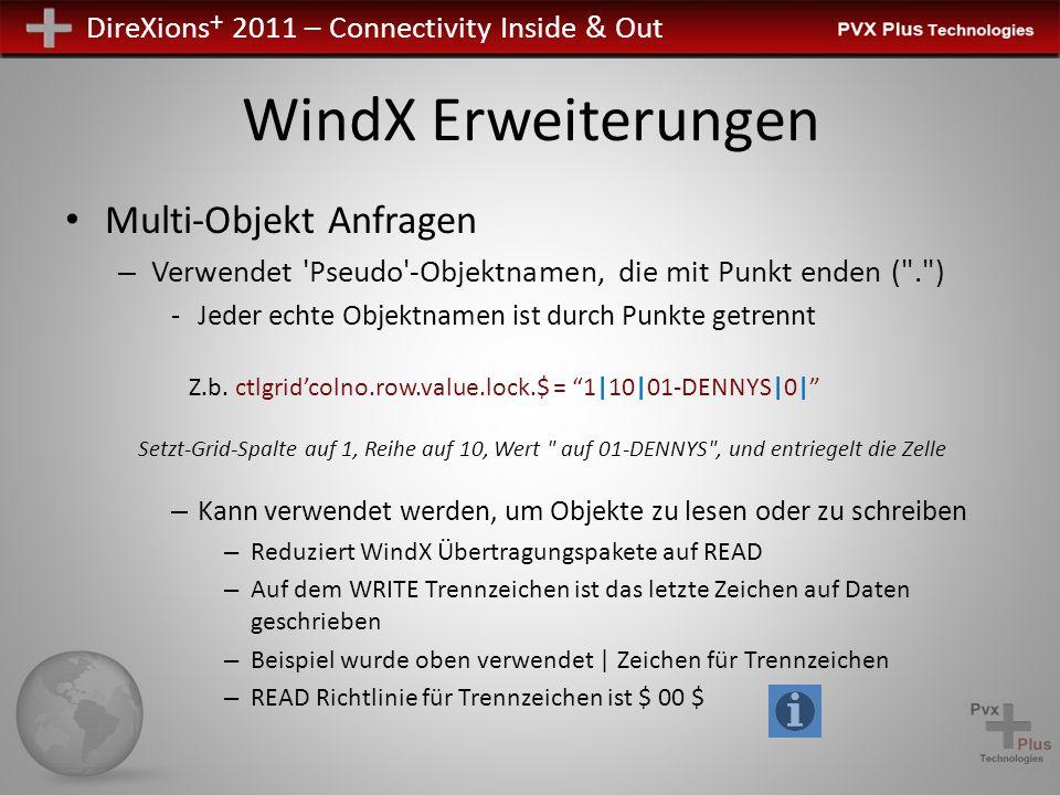 DireXions + 2011 – Connectivity Inside & Out WindX Erweiterungen Zusätzliche Fähigkeit, einzelnen Ausgabe von FIND zum Lesen von Grid/List – Bedürfnis, eine Zelle/Reihe auf einmal ZU FINDEN wurde beseitigt – Zum Abrufen des gesamten Inhalts der Listbox oder des grids verwenden Sie: LIST_BOX FIND xxx.ctl 0,X$ GRID FIND xxx.ctl,0,0,X$ – Zeigt alle Inhalte – Jede Zeile durch Zeichen in Sepload $ Objekt getrennt – Jede Spalte durch Zeichen in SEP $ Objekt getrennt