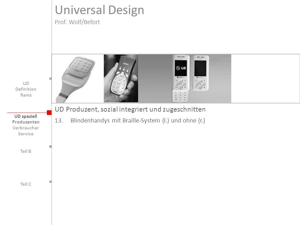 UD speziell Teil B UD Teil C UD Produzent, sozial integriert und zugeschnitten 13. Blindenhandys mit Braille-System (l.) und ohne (r.) Produzenten Ver