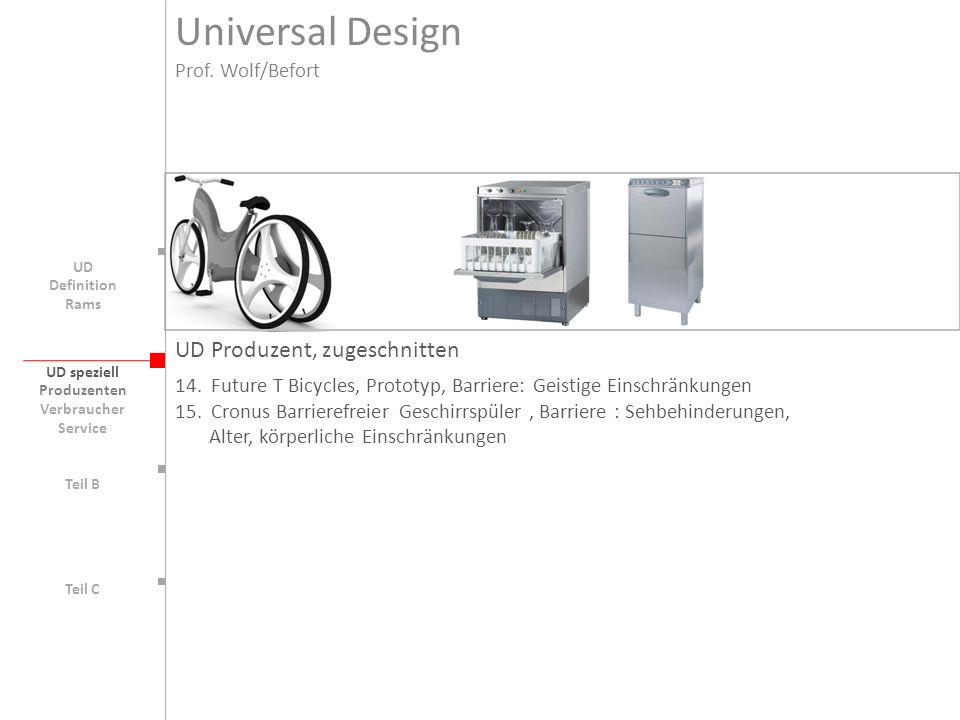 UD speziell Teil B UD Teil C UD Produzent, zugeschnitten 14.Future T Bicycles, Prototyp, Barriere: Geistige Einschränkungen 15.Cronus Barrierefreier G