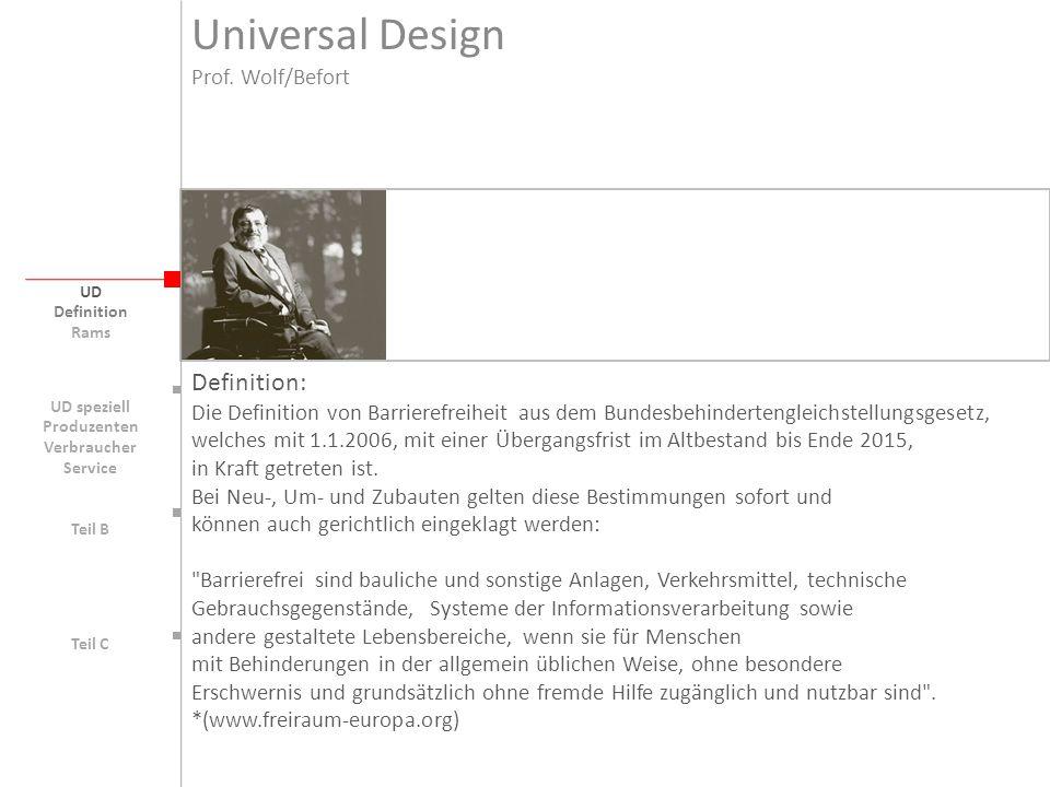 Universal Design UD Barriere bildende Faktoren: Behinderungen körperlich oder geistiger Art Einschränkungen körperlich oder geistiger Art Alter und dementsprechende kognitive Prozesse Erfahrungen Individuelle Fähigkeiten Geschlecht Kultur Sozialer Hintergrund (für Software-UD s.a.