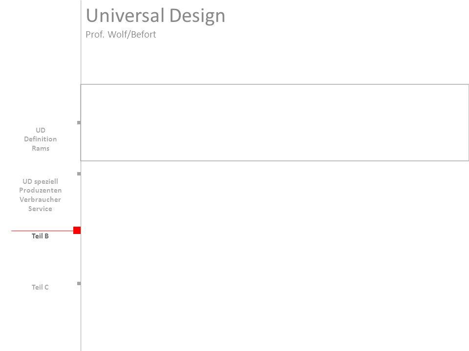 Teil B UD Universal Design Prof. Wolf/Befort Teil C Definition Rams UD speziell Produzenten Verbraucher Service