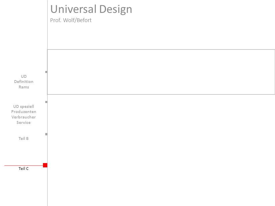 Teil B Teil C UD Universal Design Prof. Wolf/Befort Definition Rams UD speziell Produzenten Verbraucher Service