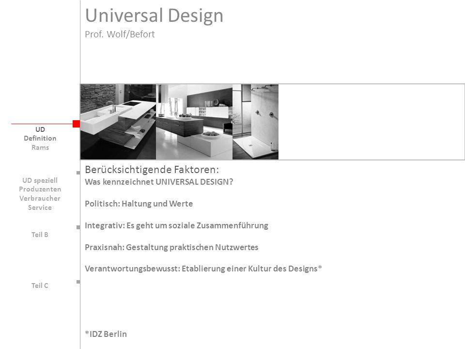 Universal Design UD Berücksichtigende Faktoren: Was kennzeichnet UNIVERSAL DESIGN? Politisch: Haltung und Werte Integrativ: Es geht um soziale Zusamme