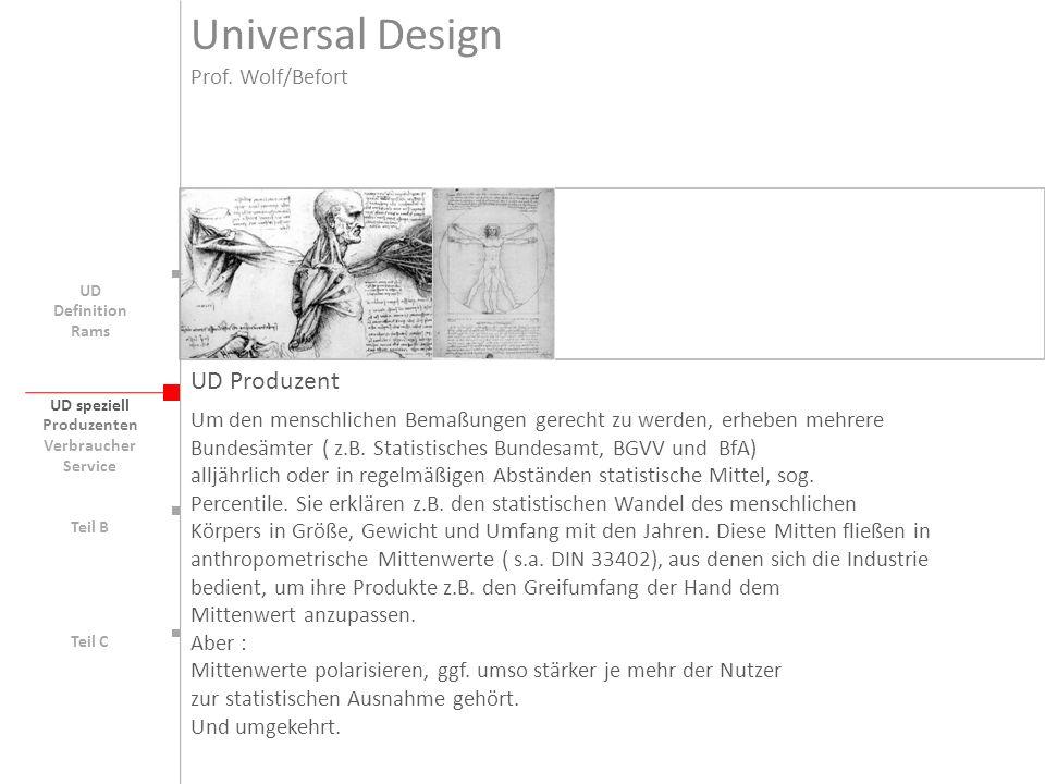 UD speziell Teil B UD Teil C Produzenten Verbraucher Service Universal Design Prof.