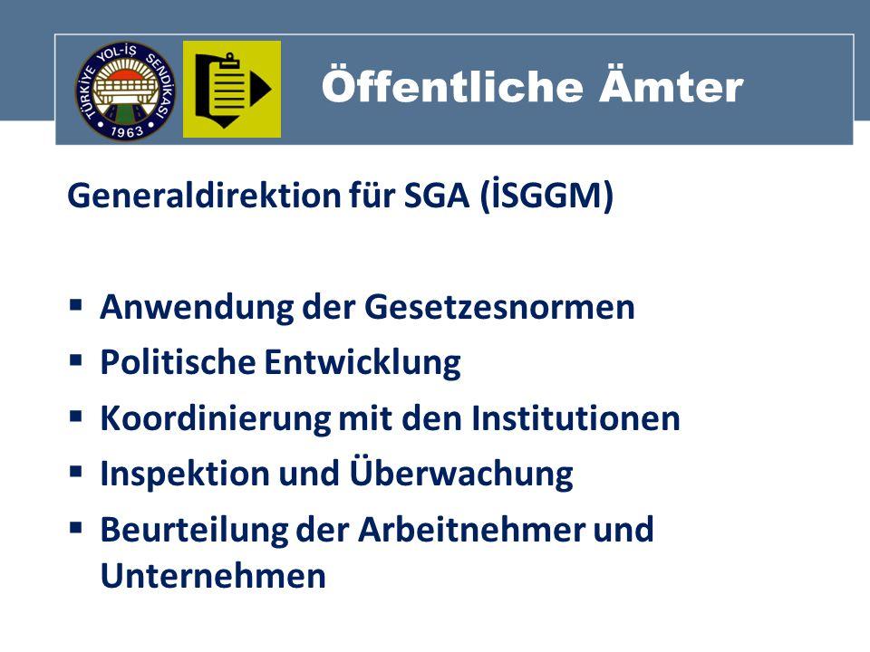 Öffentliche Ämter Generaldirektion für SGA (İSGGM) Anwendung der Gesetzesnormen Politische Entwicklung Koordinierung mit den Institutionen Inspektion