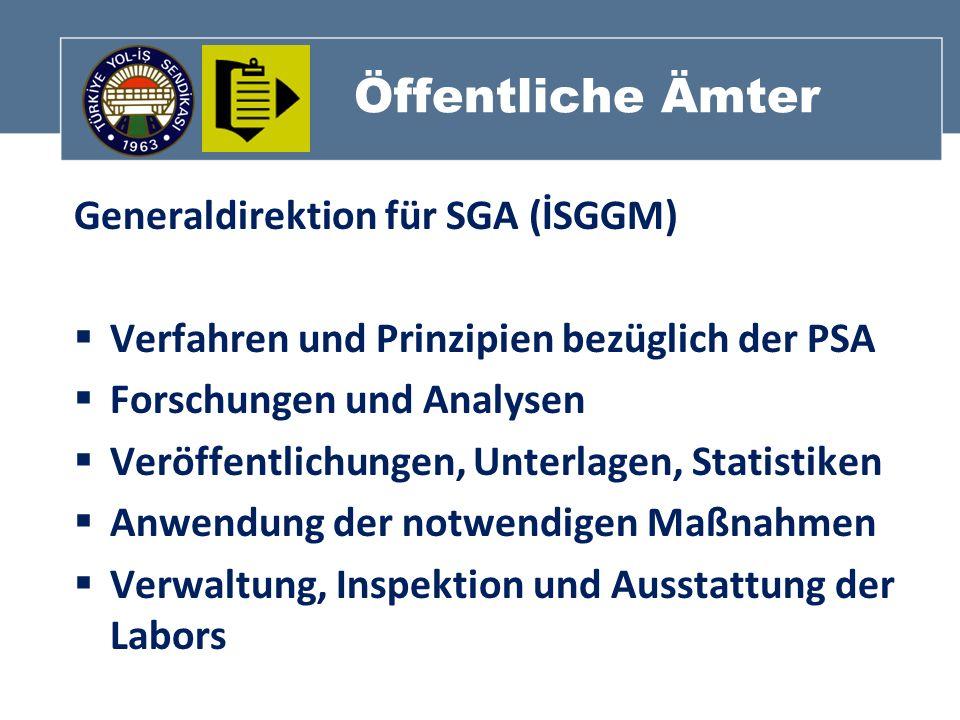 Öffentliche Ämter Generaldirektion für SGA (İSGGM) Verfahren und Prinzipien bezüglich der PSA Forschungen und Analysen Veröffentlichungen, Unterlagen,