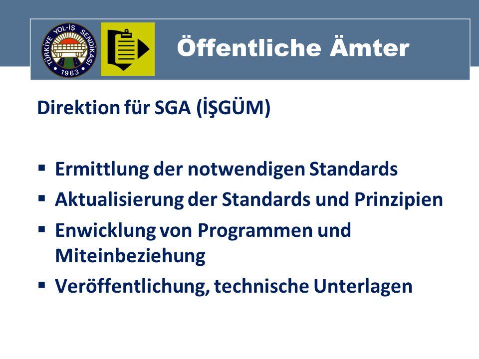 Öffentliche Ämter Direktion für SGA (İŞGÜM) Ermittlung der notwendigen Standards Aktualisierung der Standards und Prinzipien Enwicklung von Programmen