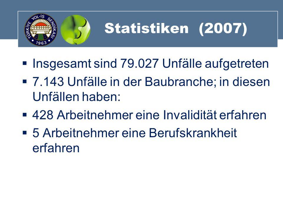 Statistiken (2007) Insgesamt sind 79.027 Unfälle aufgetreten 7.143 Unfälle in der Baubranche; in diesen Unfällen haben: 428 Arbeitnehmer eine Invalidi