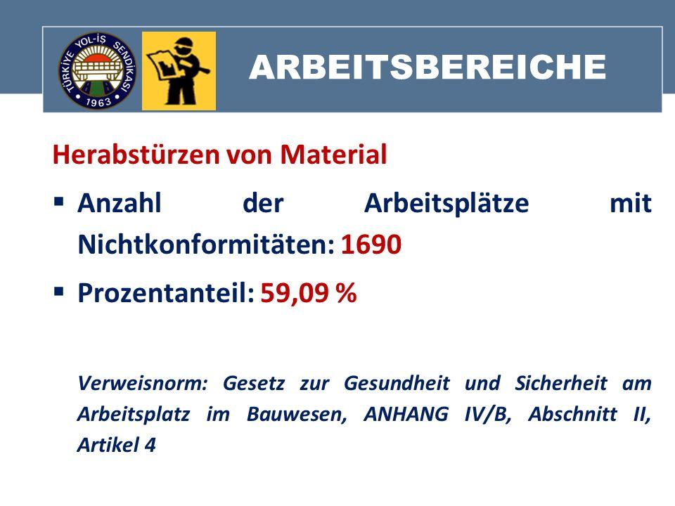 ARBEITSBEREICHE Herabstürzen von Material Anzahl der Arbeitsplätze mit Nichtkonformitäten: 1690 Prozentanteil: 59,09 % Verweisnorm: Gesetz zur Gesundh
