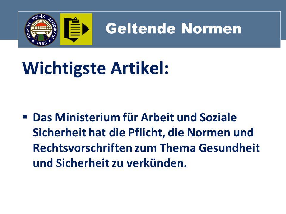 Geltende Normen Wichtigste Artikel: Das Ministerium für Arbeit und Soziale Sicherheit hat die Pflicht, die Normen und Rechtsvorschriften zum Thema Ges