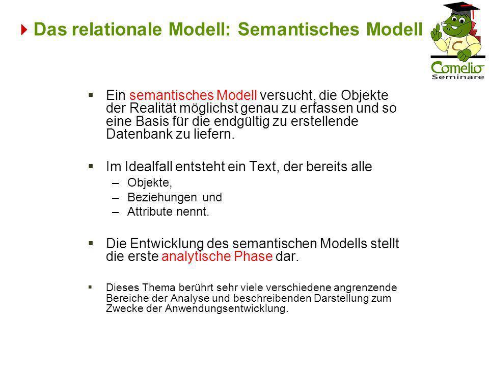 Das relationale Modell: Semantisches Modell Ein semantisches Modell versucht, die Objekte der Realität möglichst genau zu erfassen und so eine Basis f