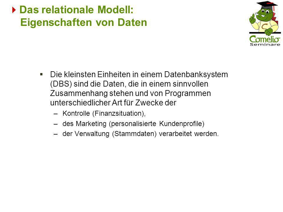 Das relationale Modell: Eigenschaften von Daten Die kleinsten Einheiten in einem Datenbanksystem (DBS) sind die Daten, die in einem sinnvollen Zusamme