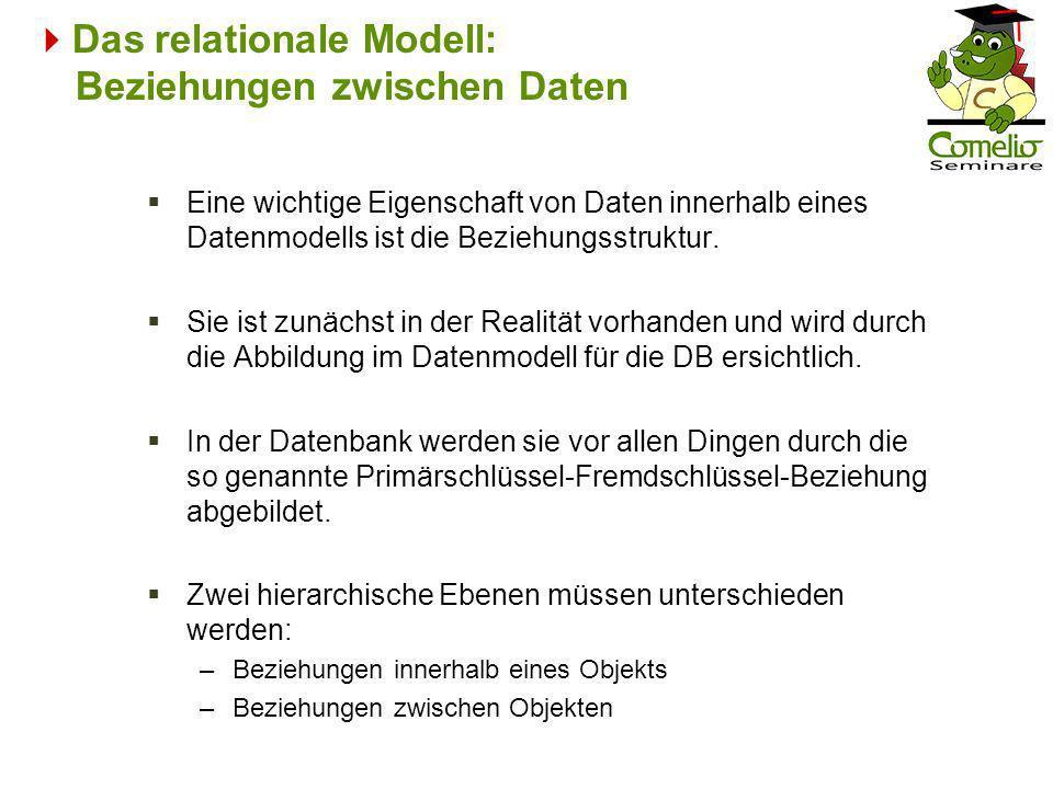 Das relationale Modell: Beziehungen zwischen Daten Eine wichtige Eigenschaft von Daten innerhalb eines Datenmodells ist die Beziehungsstruktur. Sie is