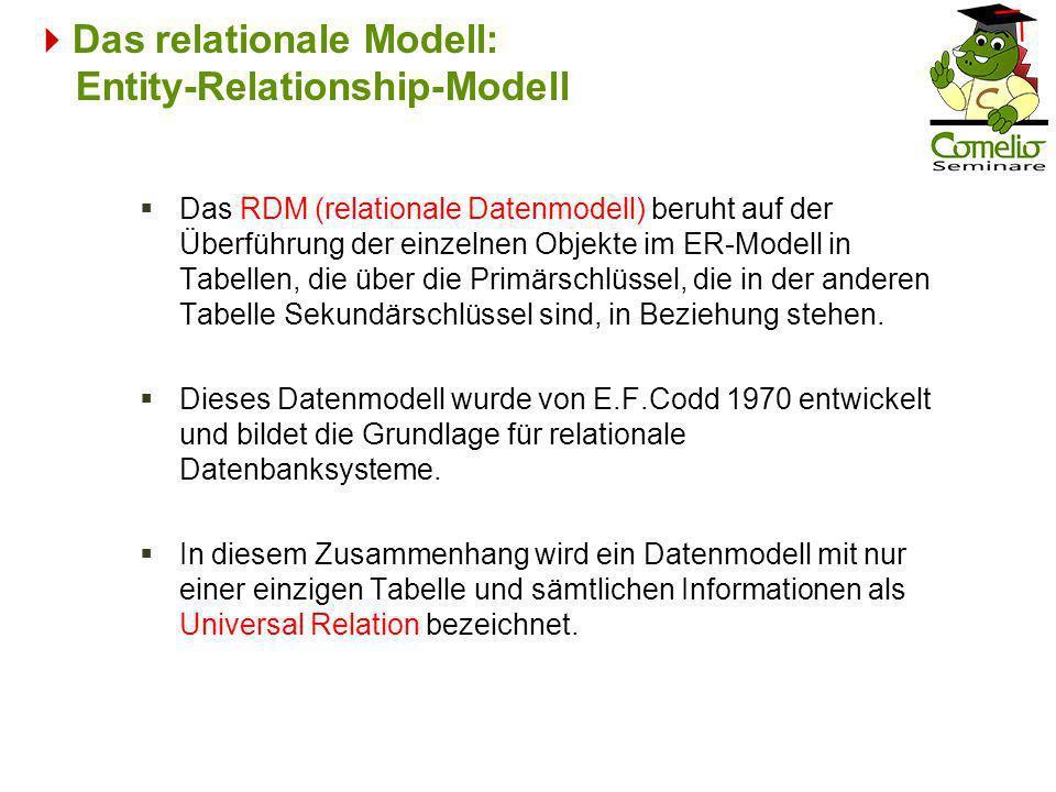 Das RDM (relationale Datenmodell) beruht auf der Überführung der einzelnen Objekte im ER-Modell in Tabellen, die über die Primärschlüssel, die in der