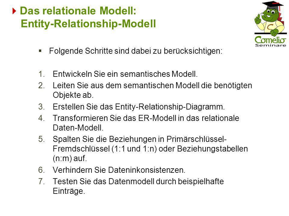 Das relationale Modell: Entity-Relationship-Modell Folgende Schritte sind dabei zu berücksichtigen: 1.Entwickeln Sie ein semantisches Modell. 2.Leiten