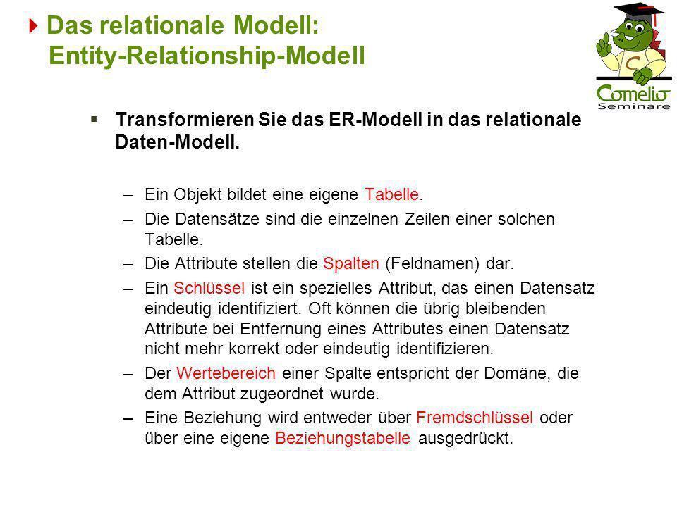 Das relationale Modell: Entity-Relationship-Modell Transformieren Sie das ER-Modell in das relationale Daten-Modell. –Ein Objekt bildet eine eigene Ta