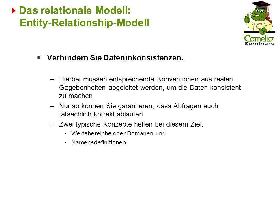 Das relationale Modell: Entity-Relationship-Modell Verhindern Sie Dateninkonsistenzen. –Hierbei müssen entsprechende Konventionen aus realen Gegebenhe