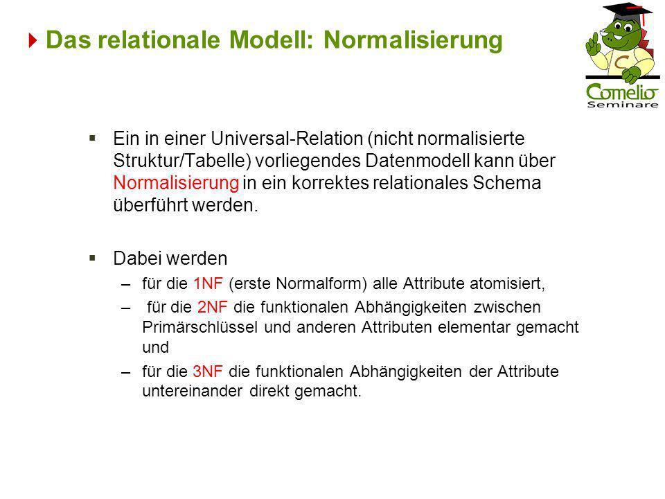 Das relationale Modell: Normalisierung Ein in einer Universal-Relation (nicht normalisierte Struktur/Tabelle) vorliegendes Datenmodell kann über Norma