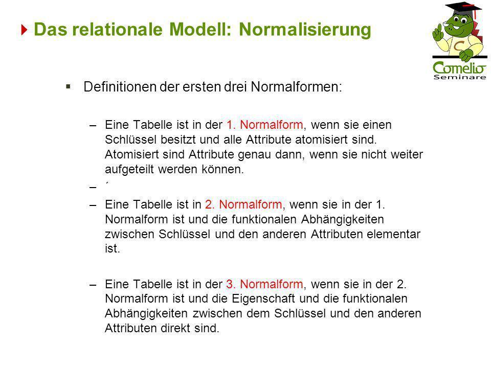 Das relationale Modell: Normalisierung Definitionen der ersten drei Normalformen: –Eine Tabelle ist in der 1. Normalform, wenn sie einen Schlüssel bes