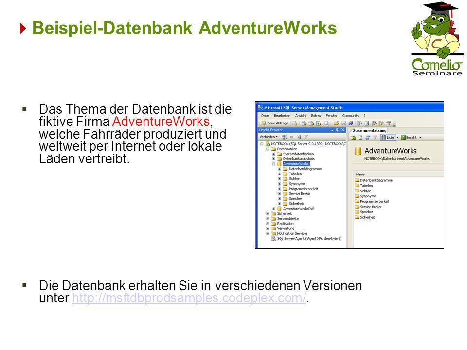 Beispiel-Datenbank AdventureWorks Das Thema der Datenbank ist die fiktive Firma AdventureWorks, welche Fahrräder produziert und weltweit per Internet