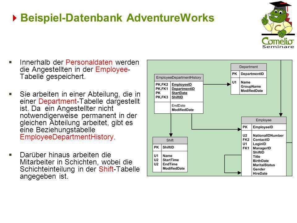 Beispiel-Datenbank AdventureWorks Innerhalb der Personaldaten werden die Angestellten in der Employee- Tabelle gespeichert. Sie arbeiten in einer Abte