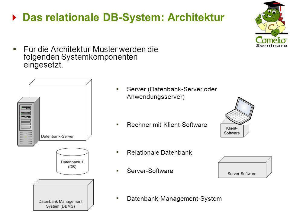 Das relationale DB-System: Architektur Für die Architektur-Muster werden die folgenden Systemkomponenten eingesetzt. Server (Datenbank-Server oder Anw