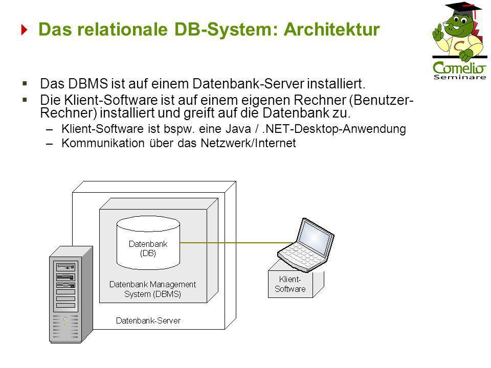 Das relationale DB-System: Architektur Das DBMS ist auf einem Datenbank-Server installiert. Die Klient-Software ist auf einem eigenen Rechner (Benutze