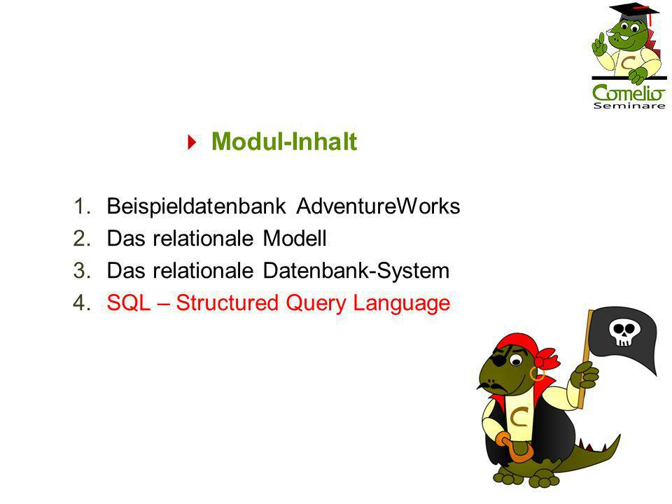 Modul-Inhalt 1.Beispieldatenbank AdventureWorks 2.Das relationale Modell 3.Das relationale Datenbank-System 4.SQL – Structured Query Language