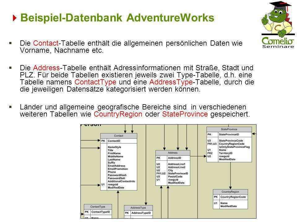 Beispiel-Datenbank AdventureWorks Die Contact-Tabelle enthält die allgemeinen persönlichen Daten wie Vorname, Nachname etc. Die Address-Tabelle enthäl
