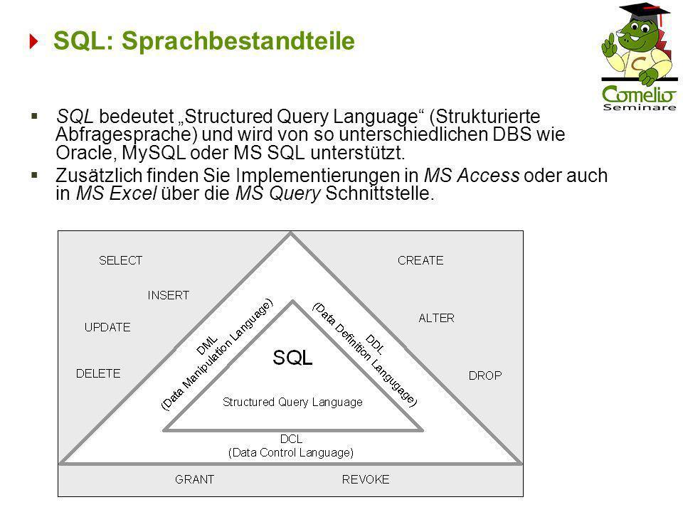 SQL: Sprachbestandteile SQL bedeutet Structured Query Language (Strukturierte Abfragesprache) und wird von so unterschiedlichen DBS wie Oracle, MySQL