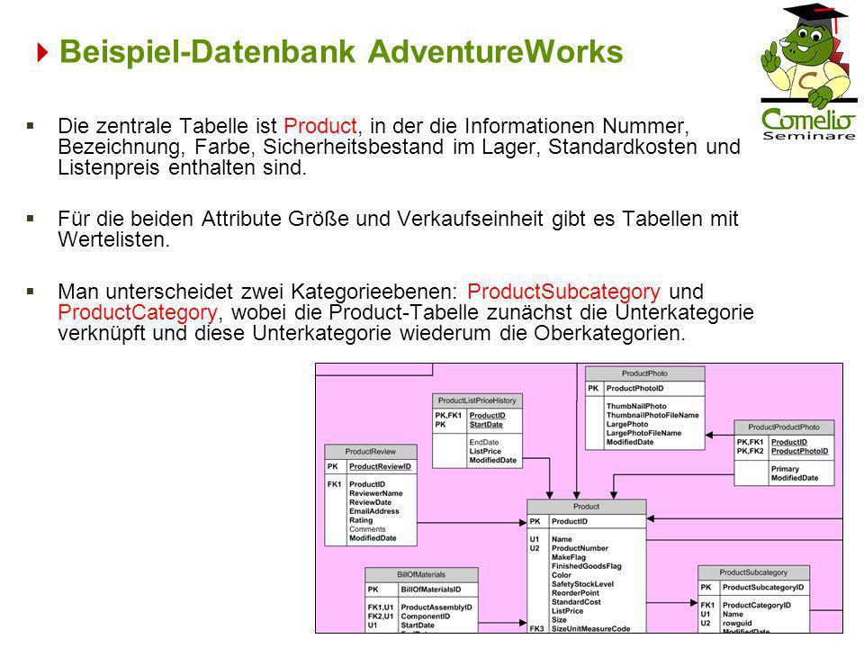 Beispiel-Datenbank AdventureWorks Die zentrale Tabelle ist Product, in der die Informationen Nummer, Bezeichnung, Farbe, Sicherheitsbestand im Lager,