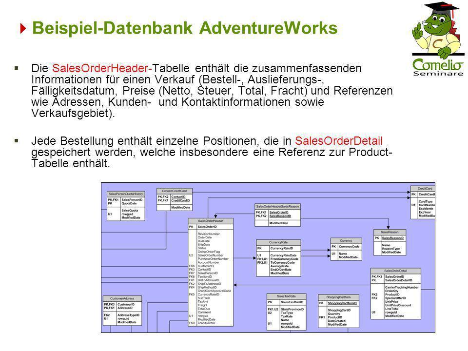 Beispiel-Datenbank AdventureWorks Die SalesOrderHeader-Tabelle enthält die zusammenfassenden Informationen für einen Verkauf (Bestell-, Auslieferungs-