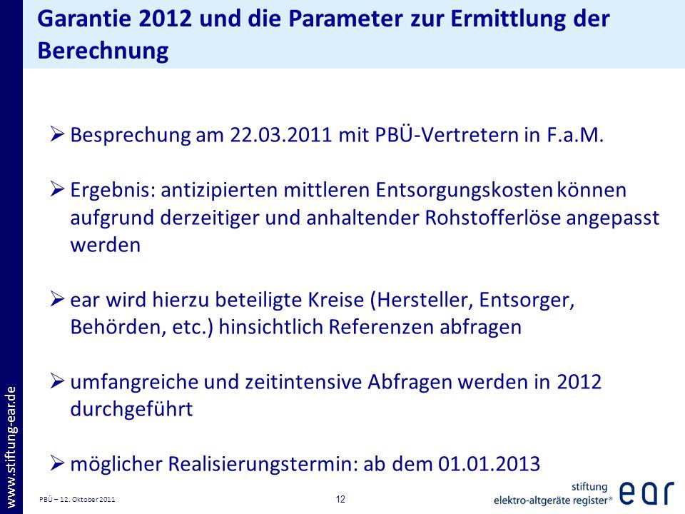 PBÜ – 12. Oktober 2011 12 www.stiftung-ear.de Garantie 2012 und die Parameter zur Ermittlung der Berechnung Besprechung am 22.03.2011 mit PBÜ-Vertrete